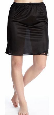 Womens Black Guipure 20`` Waist Slip, black