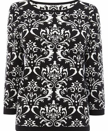 Womens Black/Ivory Pattern Jumper, black/ivory