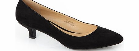 Womens Black Kitten Heel Court Shoe, black