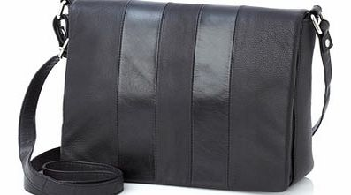 Womens Black Leather Flapover Bag, black