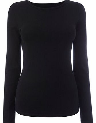 Womens Black Long Sleeve Crew Neck, black