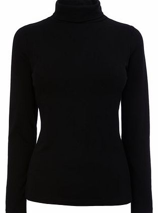 Womens Black Long Sleeve Roll Neck Top, black
