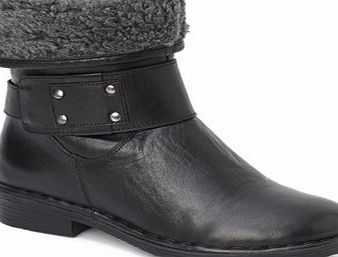 Bhs Womens Black Lotus Leather Rhino Ankle Boots,