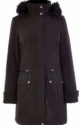 Womens Black PU & Faux Fur Trim Parka, black