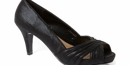 Womens Black Rouched Open Toe Platform Party