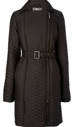 Womens Black Smart Quilted Coat, black 9853100137