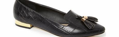 Womens Black Tassel Trim Point Shoe, black