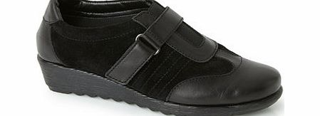 Womens Black TLC Suede and Leather Velcro Shoe,