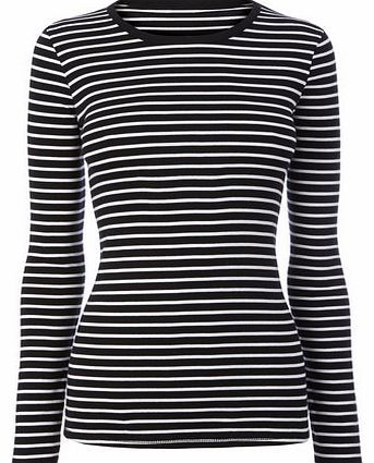 Womens Black/white Long Sleeve Stripe Crew Neck
