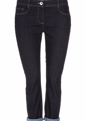 Womens Blue Petite Roll Up Jeans, indigo