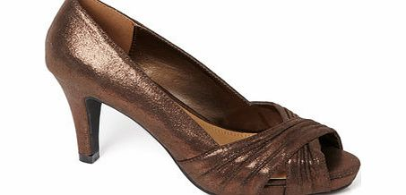 Womens Bronze Rouched Open Toe Platform Party