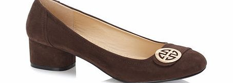 Womens Brown Round Trim Block Heel Court Shoe,