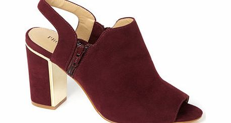 Womens Burgundy Block Heel Open Toe Sling Back