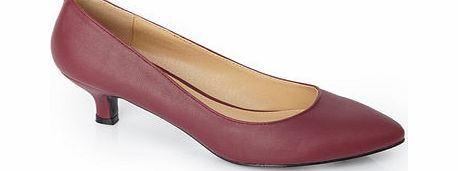 Womens Burgundy Kitten Heel Court Shoe, burgundy