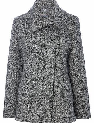 Womens Grey Collar Short Coat, grey 8317320870