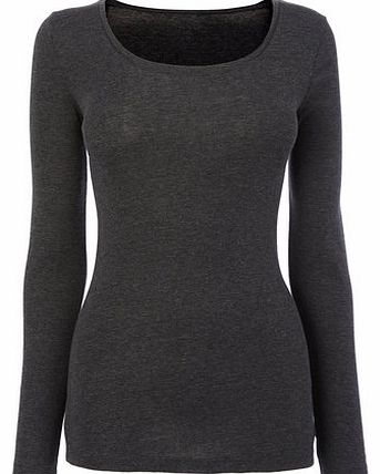 Womens Grey marl Long Sleeve Scoop Neck Top,
