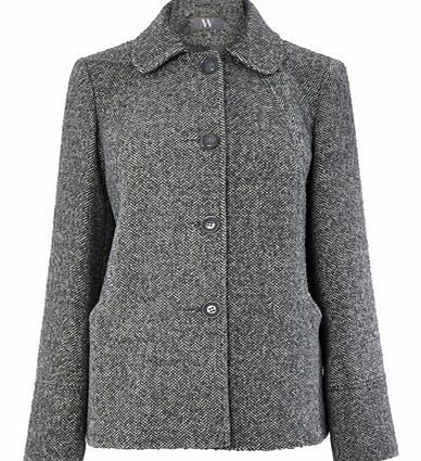 Womens Grey Single Breasted Short Jacket, grey