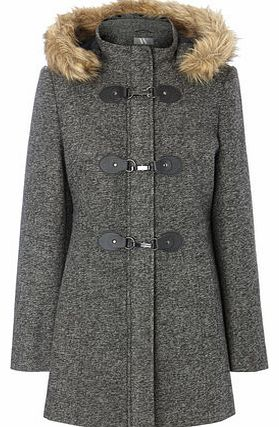 Womens Grey Textured Fur Trim Duffle Coat, grey