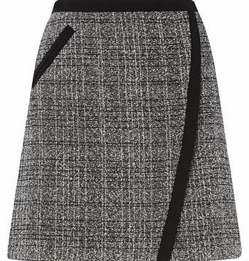 Womens Grey Tweed Cross Over Mini Skirt, grey