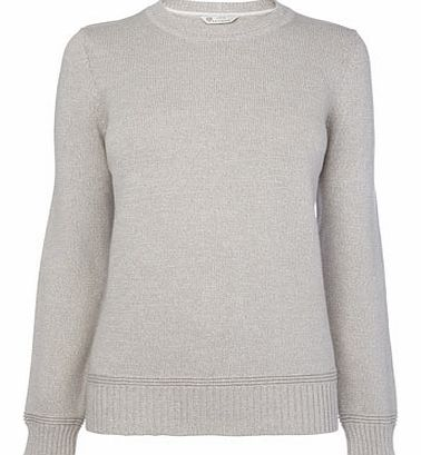 Womens Grey Twist Cotton Rich Crew Jumper, grey
