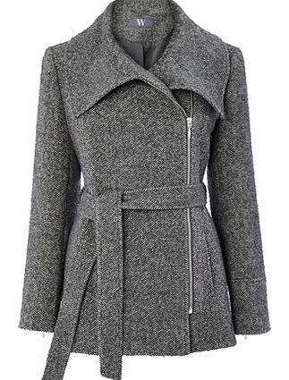 Womens Grey Zip Belted Collar Coat, grey