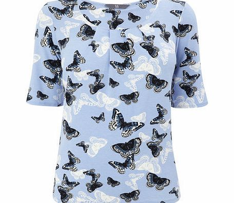 Womens Icy Blue Butterfly Pleated Top, multi