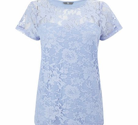 Womens Icy Blue Pretty Lace Top, pale blue