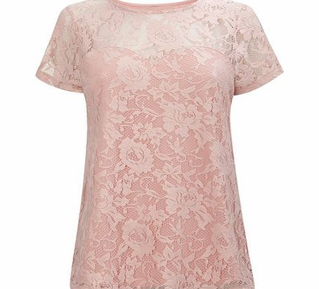 Womens Icy Pink Pretty Lace Top, pale pink
