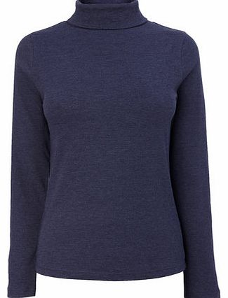Womens Indigo Long Sleeve Roll Neck Top, indigo