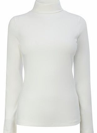 Womens Ivory Long Sleeve Roll Neck Top, ivory