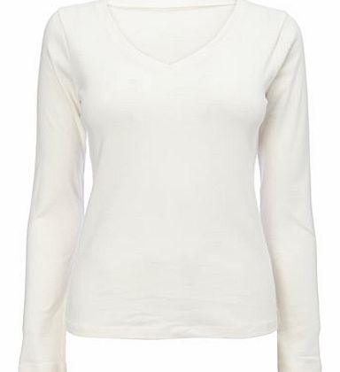 Womens Ivory Long Sleeve V Neck Top, ivory