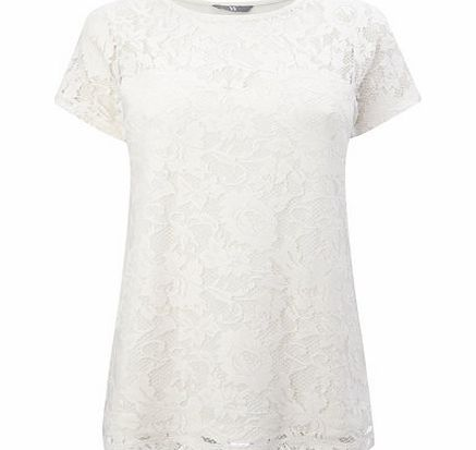 Womens Ivory Pretty Lace Top, ivory 9022040904