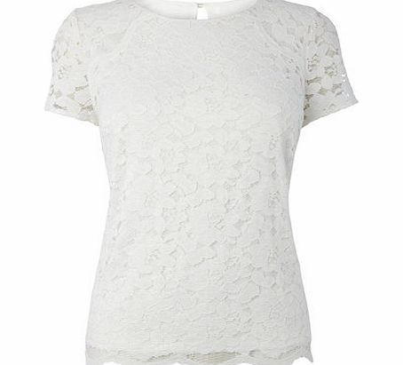 Womens Ivory Short Sleeve Lace Shell Top, ivory