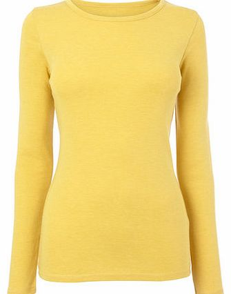 Womens Mustard Long Sleeve Scoop Neck Top, deep