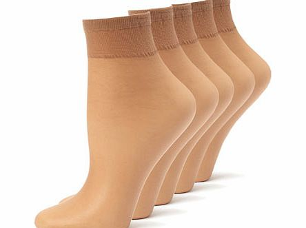 Womens Natural Tan 5 Pack Nylon Ankle Highs,