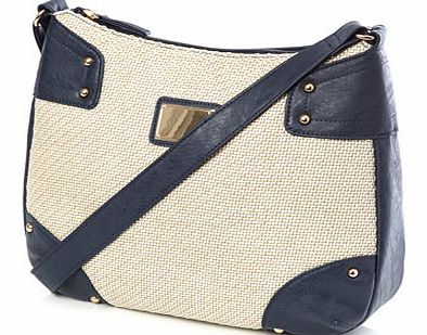 Womens Navy Formal Canvas X Body Bag, navy