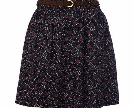Womens Navy Printed Belted Skirt, navy print