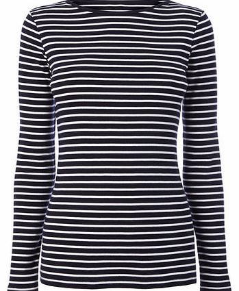 Womens Navy/white Long Sleeve Stripe Slash Neck
