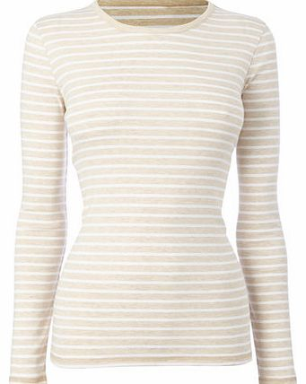 Womens Oatmeal Long Sleeve Stripe Crew Neck Top,