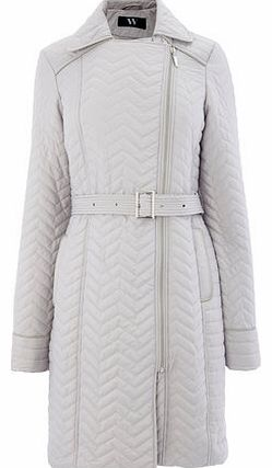 Womens Pale Grey Smart Quilted Coat, pale grey