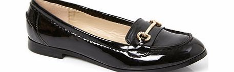 Womens Patent Black Snaffle Trim Moccasin,