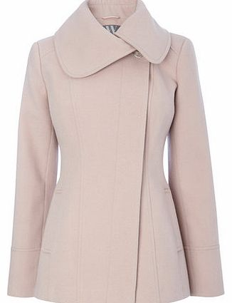 Womens Pink Collar Short Coat, pink 8317210528