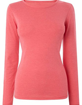 Womens Pink marl Long Sleeve Crew Neck, pink