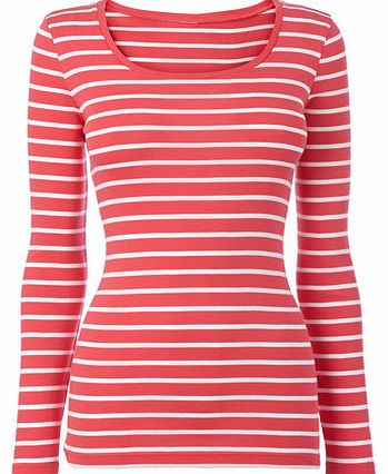 Womens Pink/white Long Sleeve Stripe Scoop Neck
