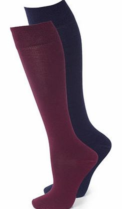 Womens Purple 2 Pack Cotton Grip Knee High