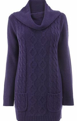 Womens Purple Cable Tunic, purple 18980020924
