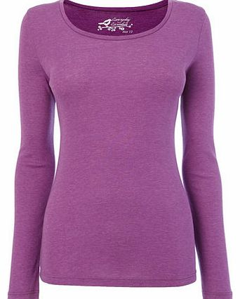 Womens Purple Long Sleeve Scoop Neck Top, purple