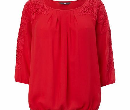 Womens Red Crochet Sleeve Blouse, red 8616133874