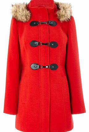 Womens Red Fur Trim Duffle Coat, red 8317253874