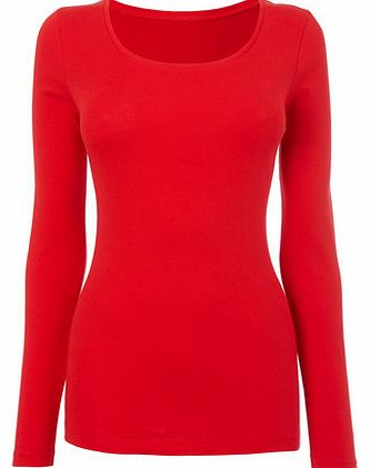 Womens Red Long Sleeve Scoop Neck Top, red